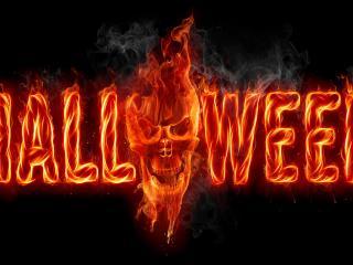 обои Огненная надпись Halloween фото