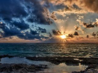 обои Солнце у морского гoризонта фото