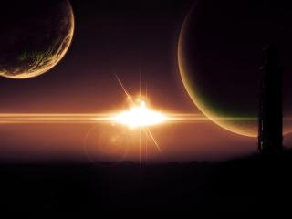 обои Солнечная вспышка в космосе фото