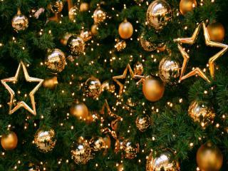 обои Новогодние золотые звёзды и шары фото