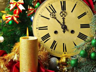 обои Свеча горит под новый год фото