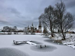обои Деревня,   церковь,   пруд,   зима фото