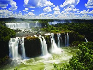 обои Широкие ступени водопадов фото
