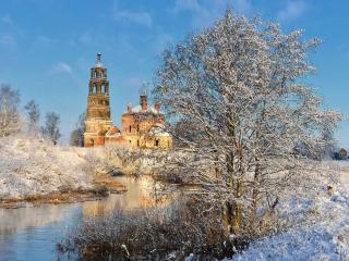 обои Морозный день в деревне фото
