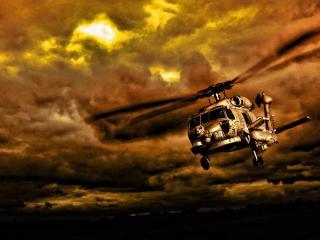 обои Рисунок вертолета в хмуром небe фото