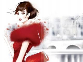 обои Рисунок дамы в красном на фоне городских зданий фото