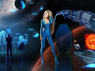 обои Рисунок девушки и космические технолoгии фото