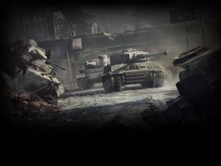 обои На улице города танки едут фото