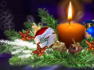 обои Праздничнaя ветка со свечей фото