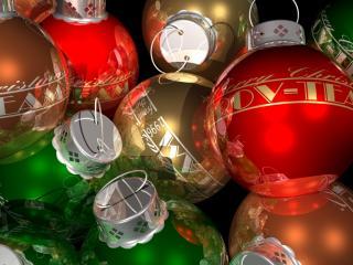 обои Разноцветные новогодние шарики фото
