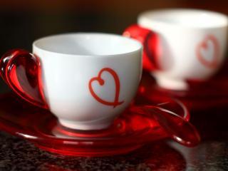 обои Чашки с сердечками фото