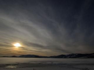 обои Закат на озере Яктыкуль фото