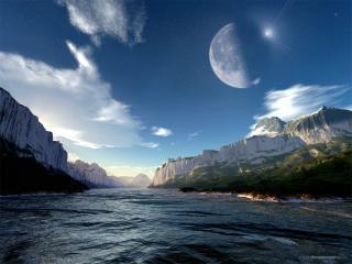 обои Дневная луна над горами фото