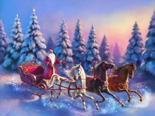 обои Дед Мороз мчится на разноцветной тройке фото