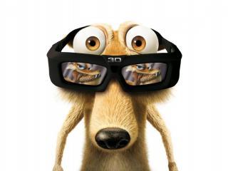 обои Белка в 3D очках фото