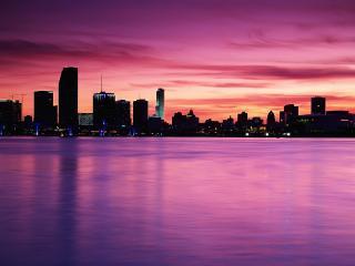 обои Город на фоне розового заката фото