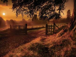 обои Закат солнца в сказочной деревушке фото