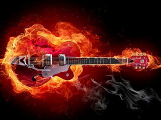 обои Гитара и огонь фото