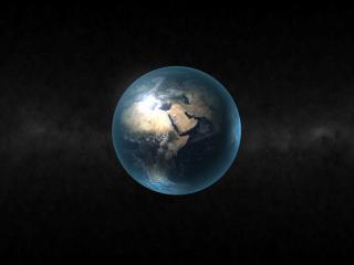 обои Голубая земля в черном космосе фото