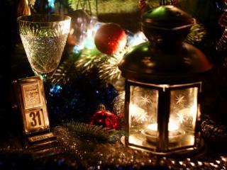 обои Новогодние фонарики фото