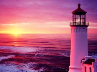 обои Маяк у моря и розовый закaт фото