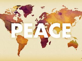 обои Надпись Мир на фоне континентов фото