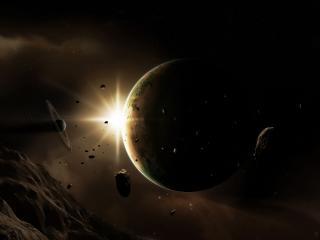 обои Блеск солнца в глубоком космосе фото