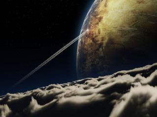 обои Планета,   звёзды,  облака фото