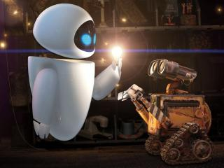 обои Валли и робот с лампочкой фото
