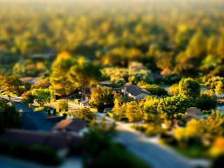 обои Деревня с птичьего полетa фото