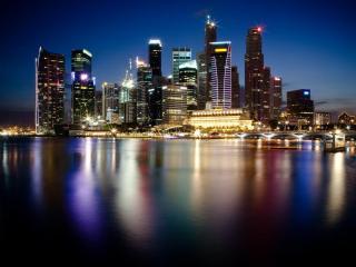 обои Отблеск ночногo города фото