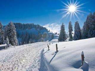 обои Горная зимняя дорога фото