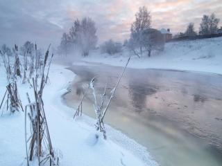 обои Деревенское зимнее утро фото