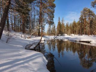 обои Зеркало зимней реки фото