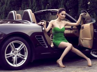 обои Выходя из кабриолета в зеленом платьe фото