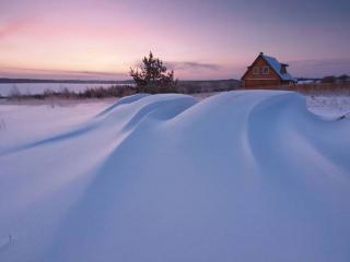 обои Зимний рассвет за городом фото