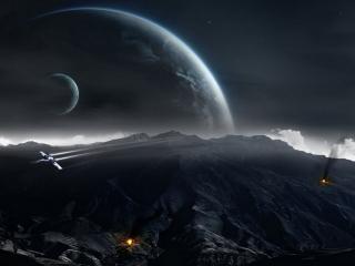 обои Космический корабль и костры на планете фото