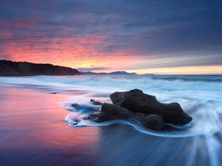 обои Отмели морские в сумраке заката фото