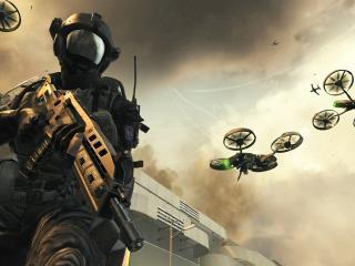 обои Военный с автоматом на фоне самолетов фото