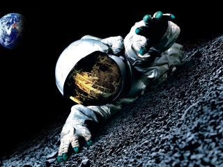 обои космонавт в неизведанном космосе фото