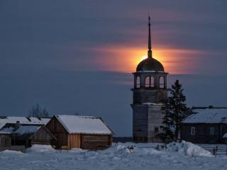 обои Зимняя деревня в лунном свете фото