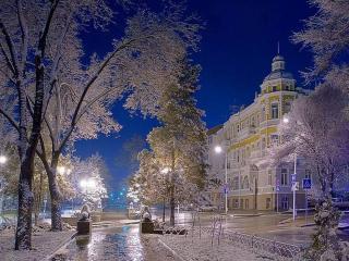 обои Фонари в зимнем городе фото