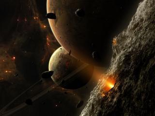обои Две планеты в метеоритном дожде фото