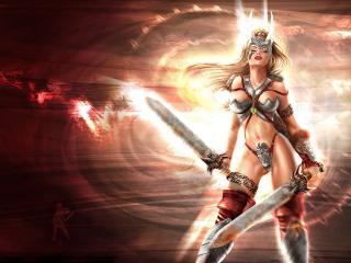 обои Воительница с двумя мечами фото