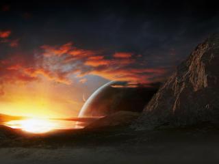обои Восход солнца на чужой планете фото