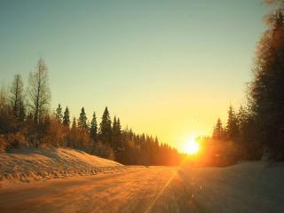 обои Дорога в зимний закат фото