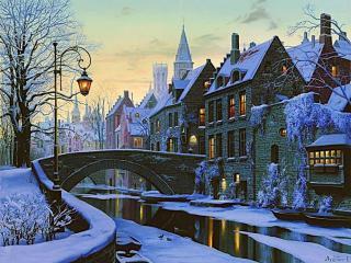 обои Зима в маленьком городе фото