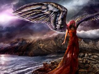 обои Ангел с огромными крыльями на побережье фото