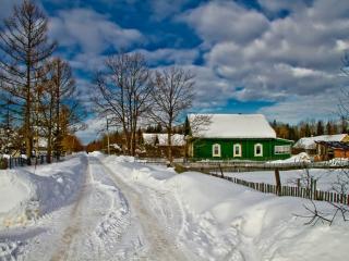 обои Зима в северной деревньке фото