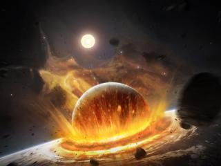 обои Страшное столкновение планет фото